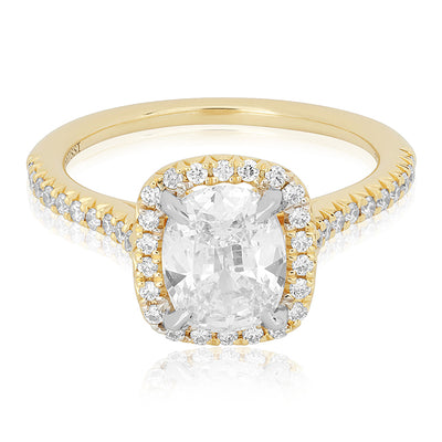 18K Yellow Gold Cusion Cut Diamond Halo Ring