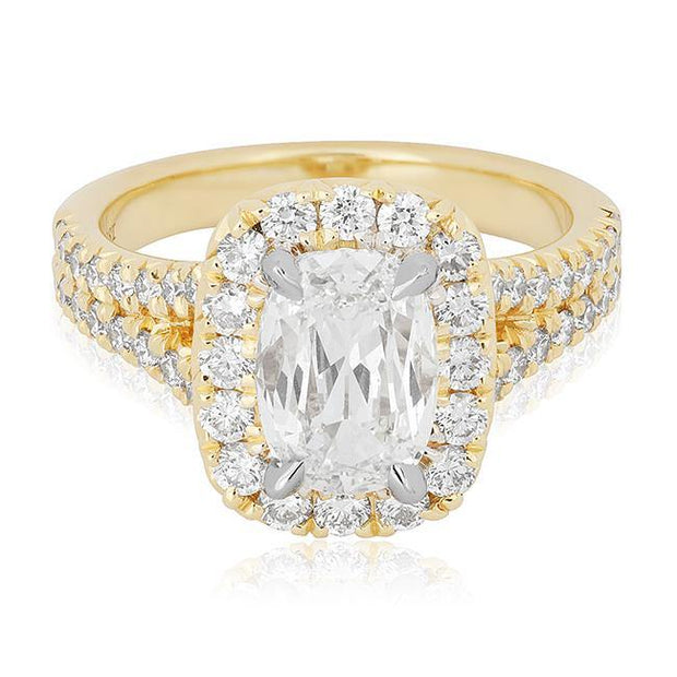 Henri Daussi 18K Yellow Gold Cushion Cut Diamond Halo Split Shank Ring