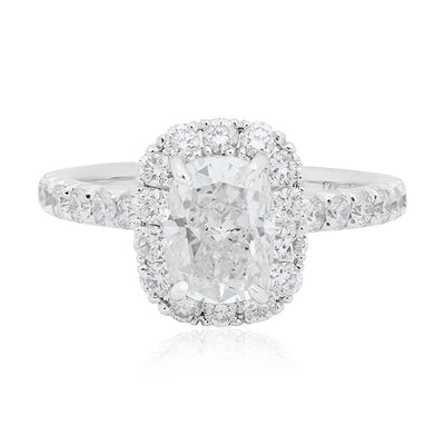 18K White Gold Cushion Cut Diamond Halo Ring