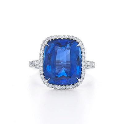 Platinum Cushion Cut Sapphire Ring with Diamond Halo