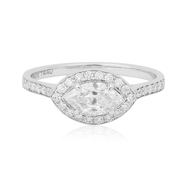 Jade Trau White Gold Diamond Ring Top View