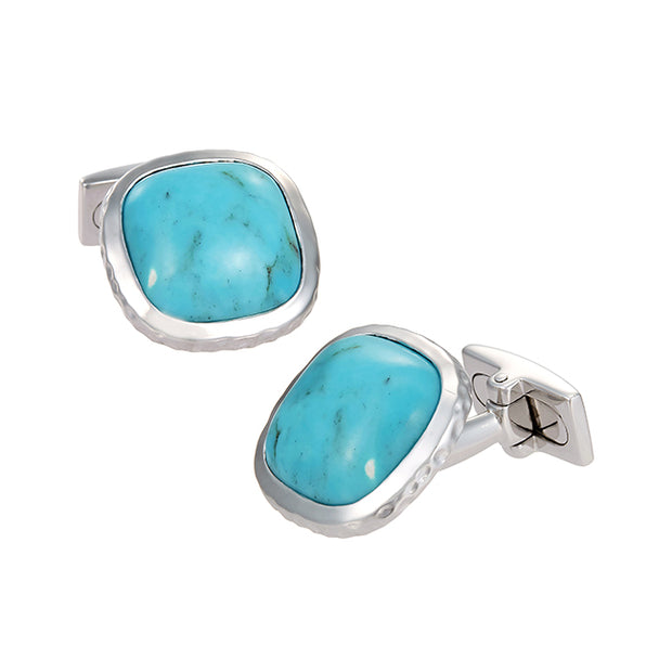 Domed Square Turquoise Cufflinks