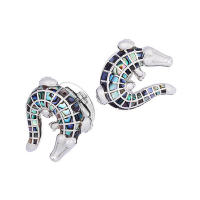 Abalone Crocodile Cufflinks