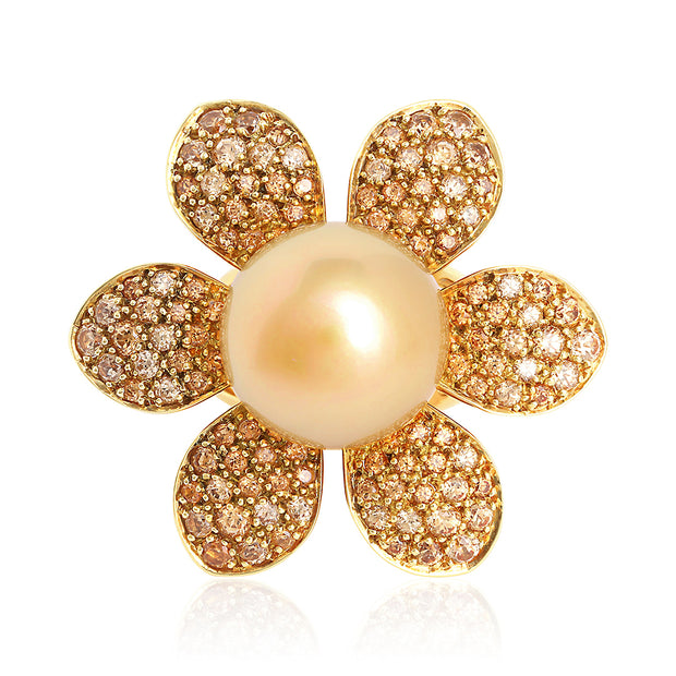 18K Yellow Gold South Sea Pearl and Spessarite Flower Ring