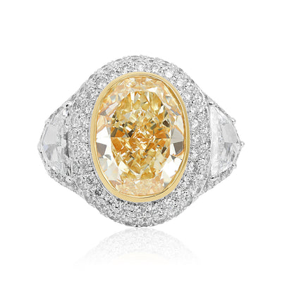 Platinum and 18K Yellow Gold Three Stone Halo Diamond Engagement Ring