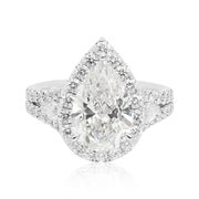 Platinum Halo Pear Diamond Engagement Ring