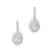 18K White Gold Pear Shaped Diamond Halo Drop Earrings