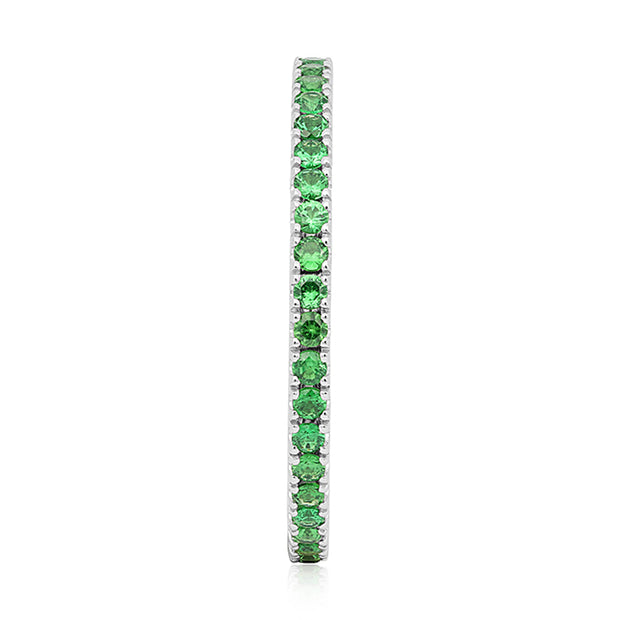 18K White Gold Stackable Collection Faceted Tsavorites Ring