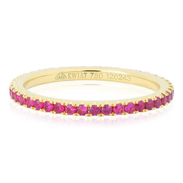 18K Yellow Gold Stackable Collection Ring with Rubies