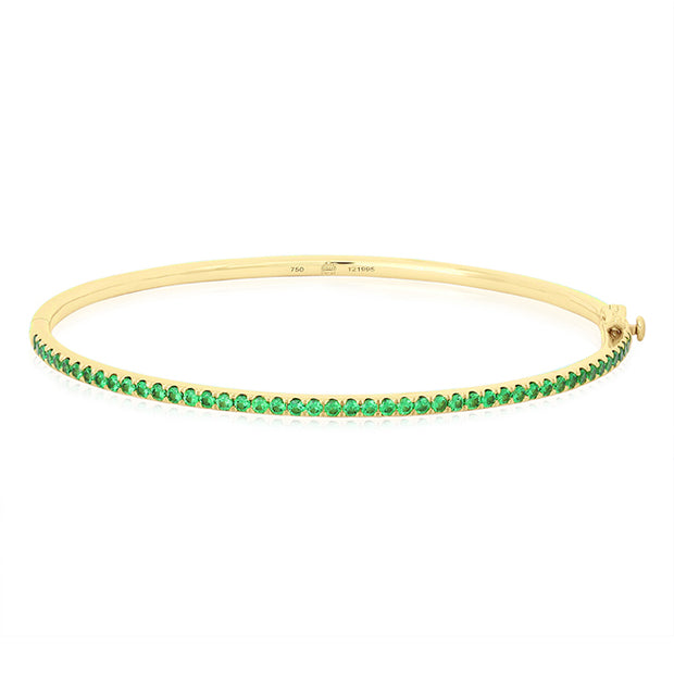 18K Yellow Gold Stackable Collection Tsavorite Bangle Bracelet