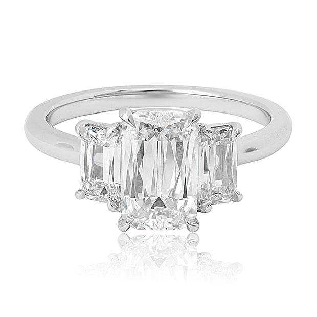 Platinum Three Stone Ashoka Diamond Ring