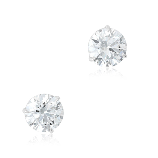 Platinum Round Diamond Stud Earrings