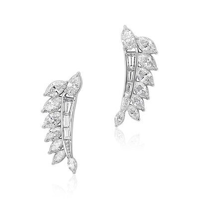 Platinum Marquise and Baguette Diamond Ear Climber Earrings