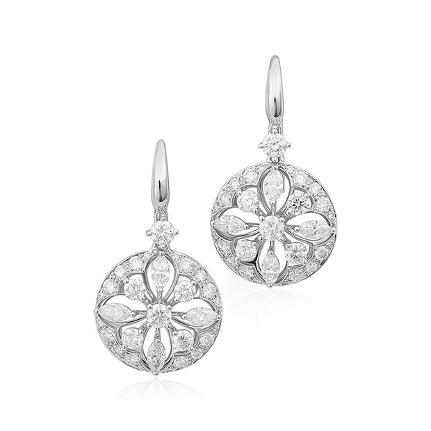 18K White Gold Star Collection Diamond Earrings