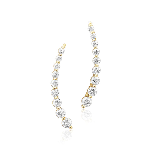 18K Yellow Gold Diamond Climber Earrings