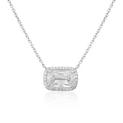 Platinum Ashoka Diamond Pendant Necklace with Halo