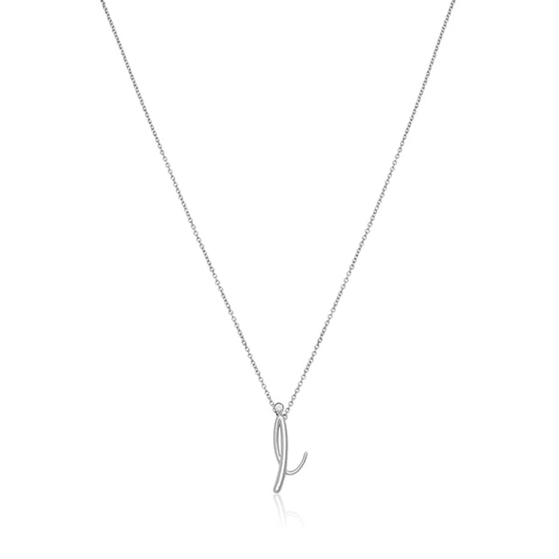 "18K White Gold Initial ""I"" Necklace"