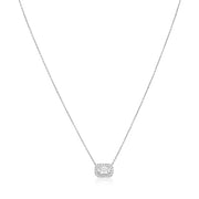 18K White Gold Ashoka Diamond Halo Necklace