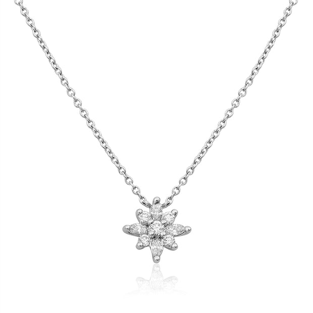 18K White Gold Mini Star Pendant Necklace