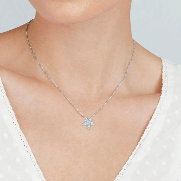 18K White Gold Sunburst Collection Star Pendant Necklace