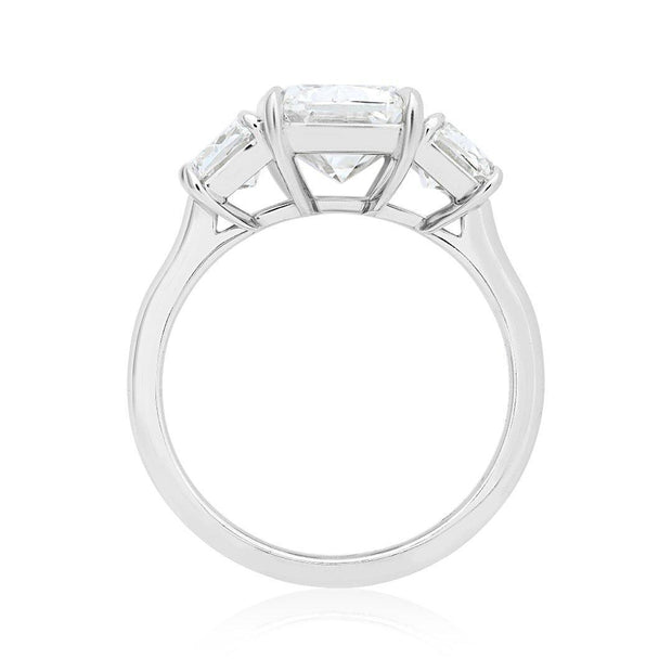 Kwiat Platinum and Diamond Three Stone Engagement Ring with Ashoka Diamonds Front View
