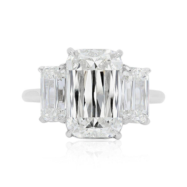 Kwiat Platinum and Diamond Three Stone Engagement Ring with Ashoka Diamonds Top View