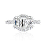 Platinum and Diamond Three Stone Ashoka Diamond Engagement Ring with Halo.