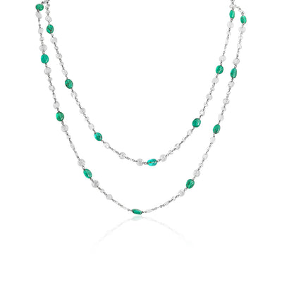 18K White Gold Invisible Set Emerald and Diamond Link Chain Necklace