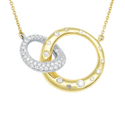 18K Yellow and White Gold Interlocking Circle Diamond Necklace