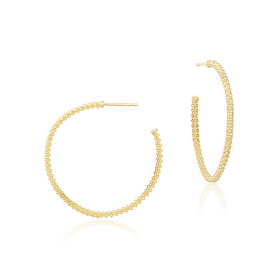 18K Yellow Gold Caviar Collection 35mm Hoop Earrings