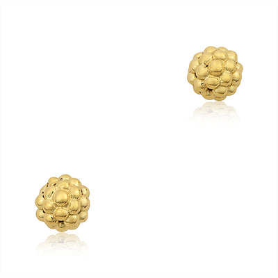 18K Yellow Gold Caviar Collection Stud Earrings