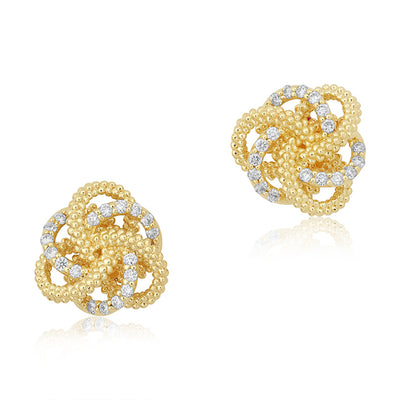 18K Yellow Gold Diamond Love Knot Stud Earrings