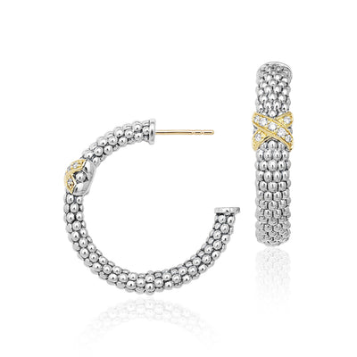 Sterling Silver and 18K Yellow Gold Caviar Lux Diamond Hoop Earrings