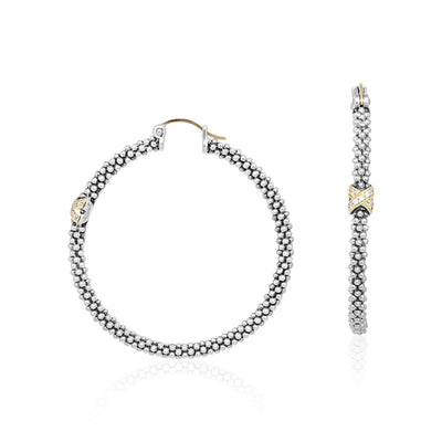 Sterling Silver and 18K Yellow Gold Caviar Diamond Hoop Earrings