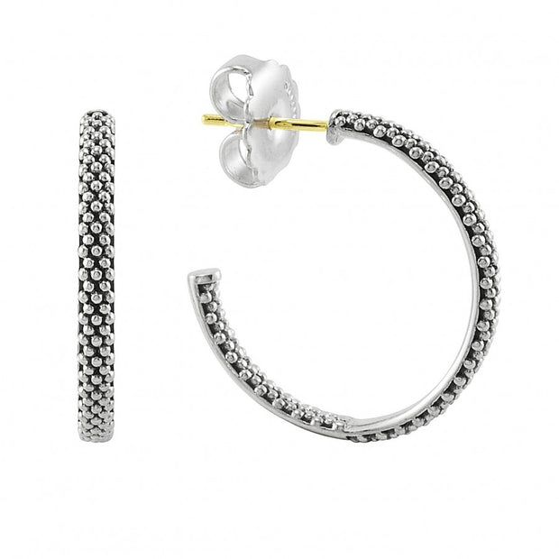 Sterling Silver Signature Caviar Collection Hoop Earrings