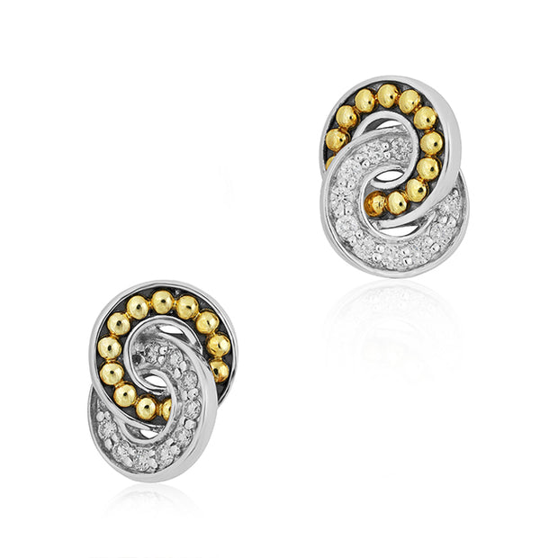 Sterling Silver and Yellow Gold Enso Collection Earrings