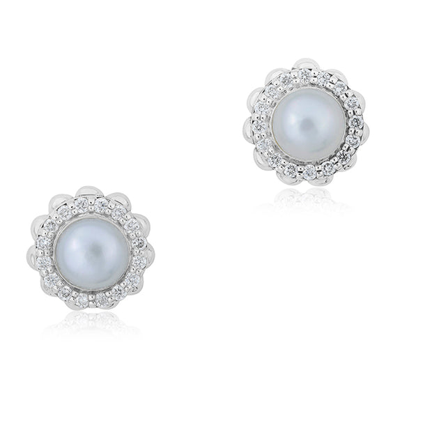 Sterling Silver Luna Collection Pearl Earrings