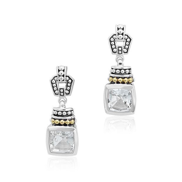 LAGOS Sterling Silver and 18K Yellow Gold Earrings with White Topaz