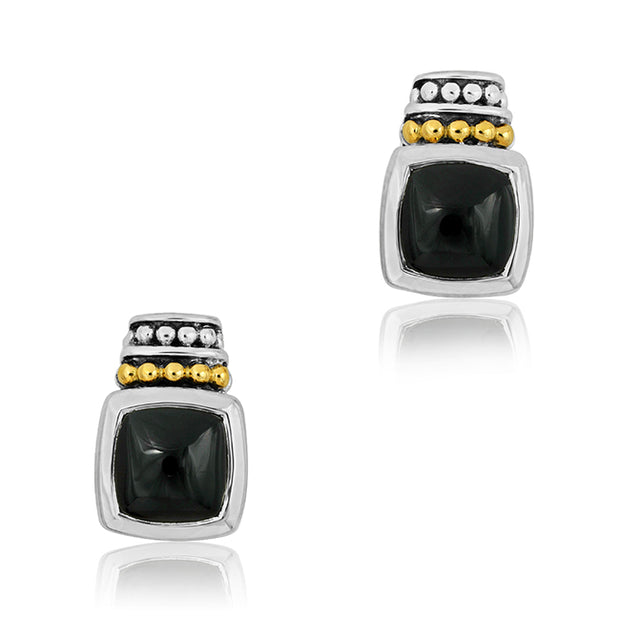 Sterling Silver Caviar Color Collection Earrings with a Cabochon Onyx