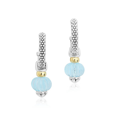 Sterling Silver Caviar Forever Collection Drop Earrings with Blue Topaz Drops