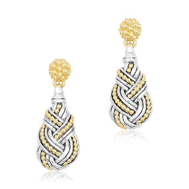 18K yellow gold and sterling silver Torsade Collection Drop Earrings