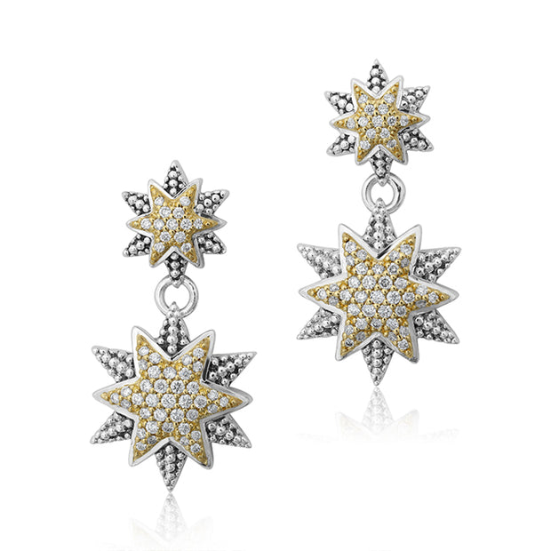 North Star Drop Earrings with Round Diamonds