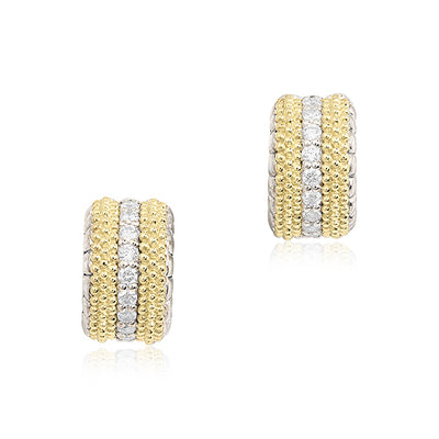 18K Yellow Gold Caviar Beaded Huggie Hoop Diamond Earrings