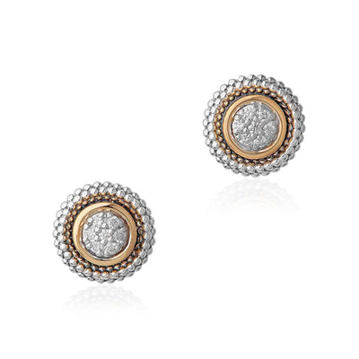 Sterling Silver and Diamond Stud Earrings with 18K Yellow Gold Accents