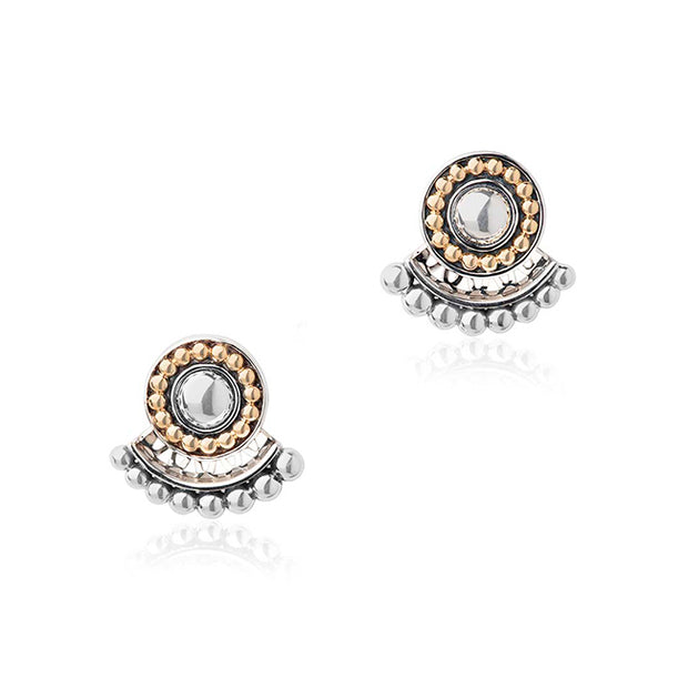 Sterling Silver and 18K Stud Earrings with a Beaded Ear Jacket