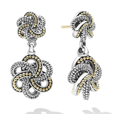 Sterling Silver and 18K Yellow Gold Love Knot Collection Drop Earrings
