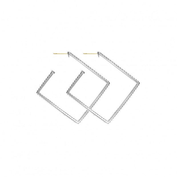 Sterling Silver Signature Caviar Collection Square Hoop Earrings
