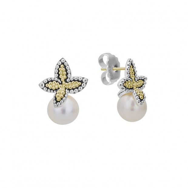 Sterling Silver and 18K Yellow Gold Luna Pearl Earrings