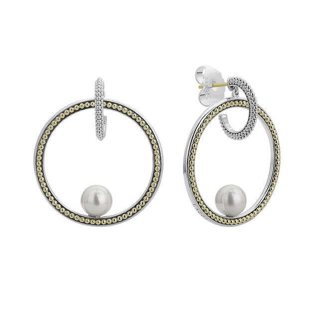 Sterling Silver and 18K Yellow Gold Luna Collection Pearl Drop Earrings