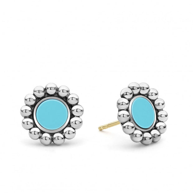 Sterling Silver Maya Collection Light Blue Ceramic Stud Earrings